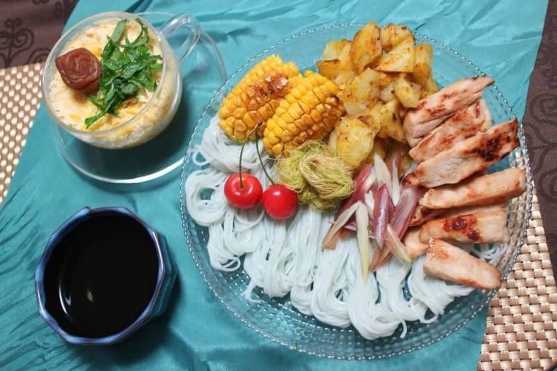 オリーブオイルレシピソング♪ とうもろこしの梅茶碗蒸しと爽やか素麺