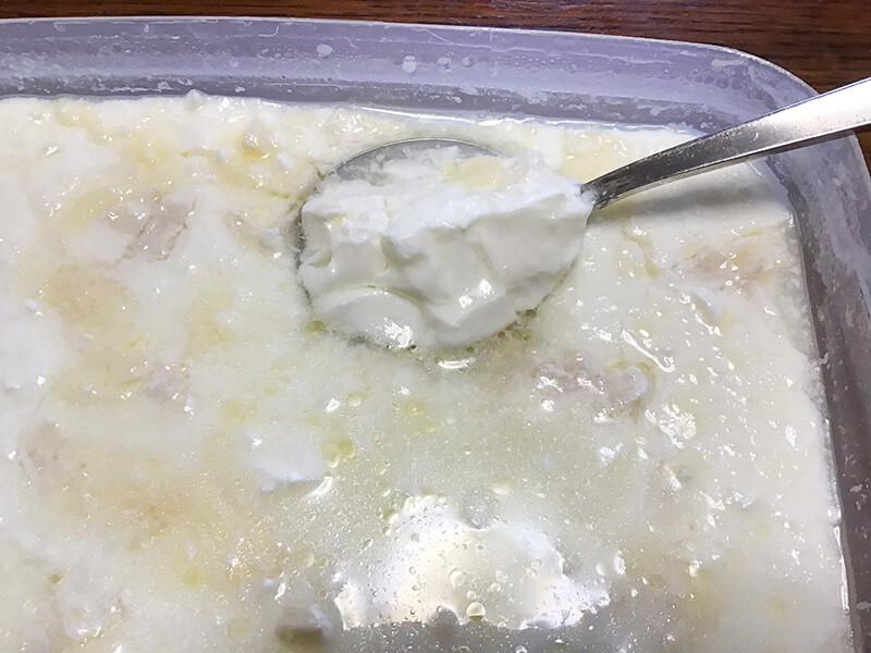 8~12時間程度経てばチーズ入りヨーグルトができる