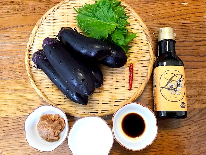 オリーブオイルがカギ、ナスの炒め味噌煮  材料