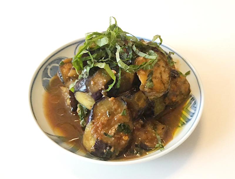オリーブオイルがカギ、ナスの炒め味噌煮 できあがり