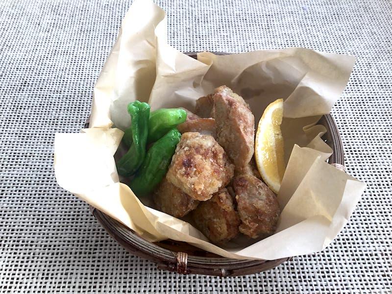 オリーブオイルを使って里芋の唐揚げ:緑と合わせると地味じゃない?!