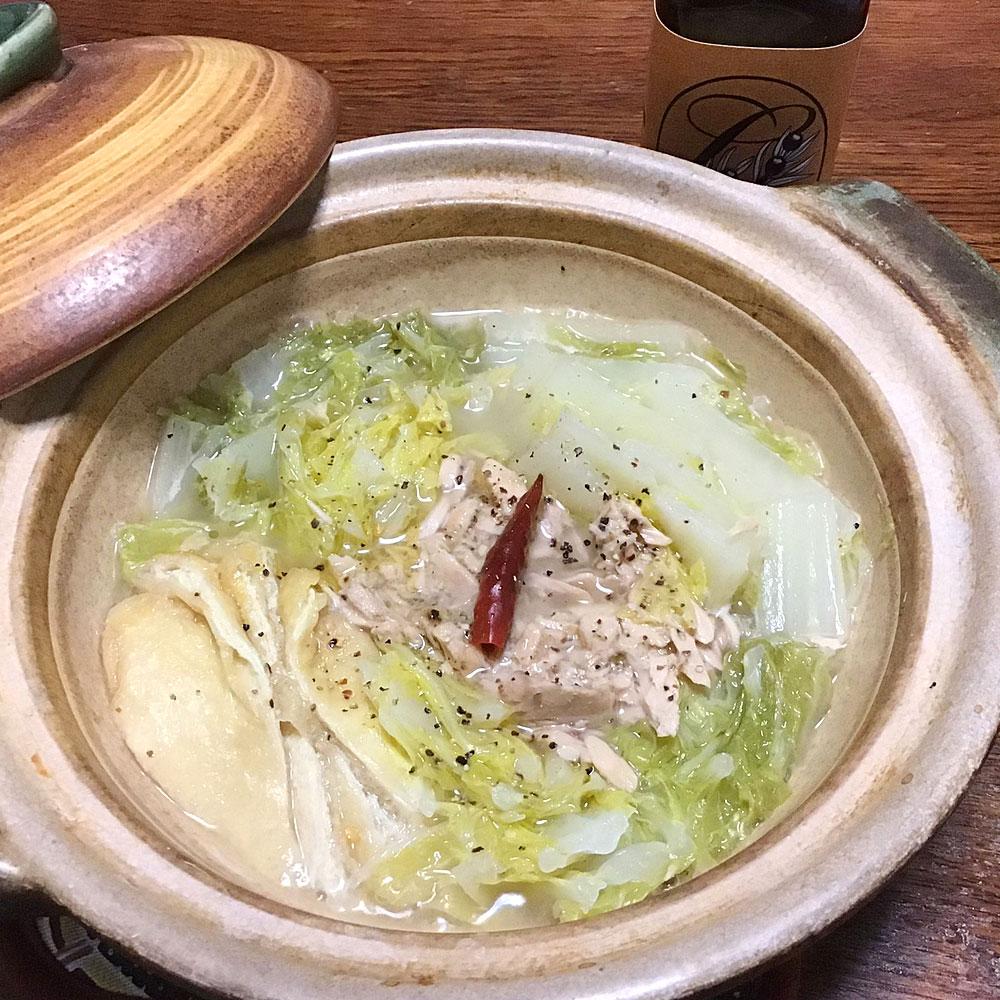 無限白菜ツナオリーブオイル鍋