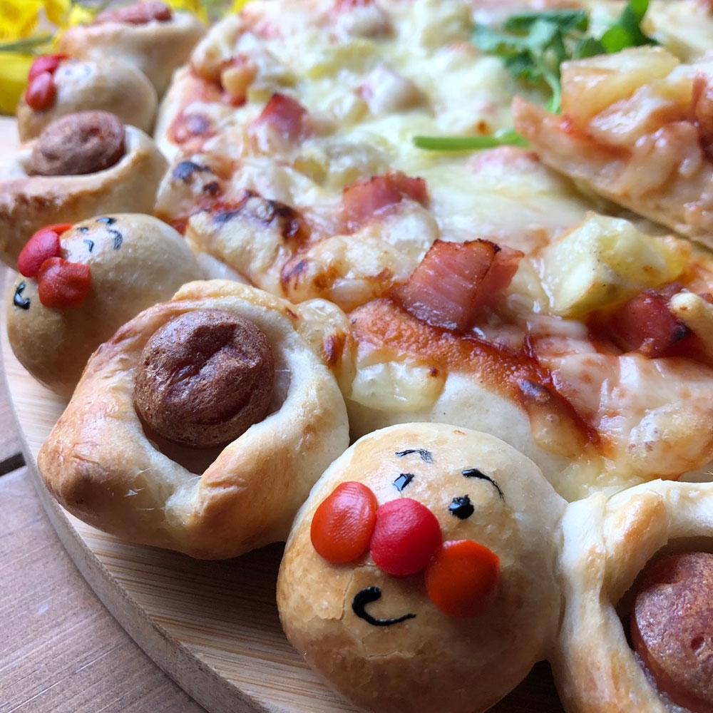 オリーブオイル・ヌーヴォーを使ったじゃがいもと厚切りベーコンのピザ