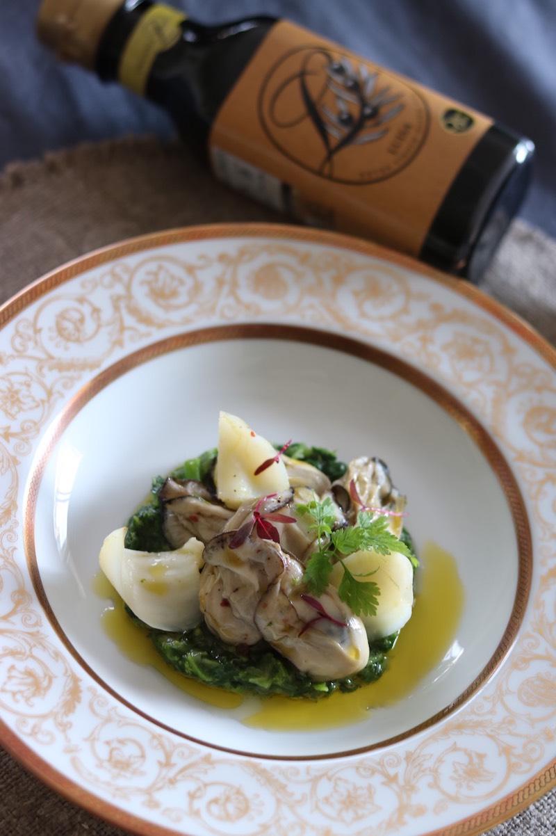 オリーブオイルを使った牡蠣と菜の花のソテー 百合根添え