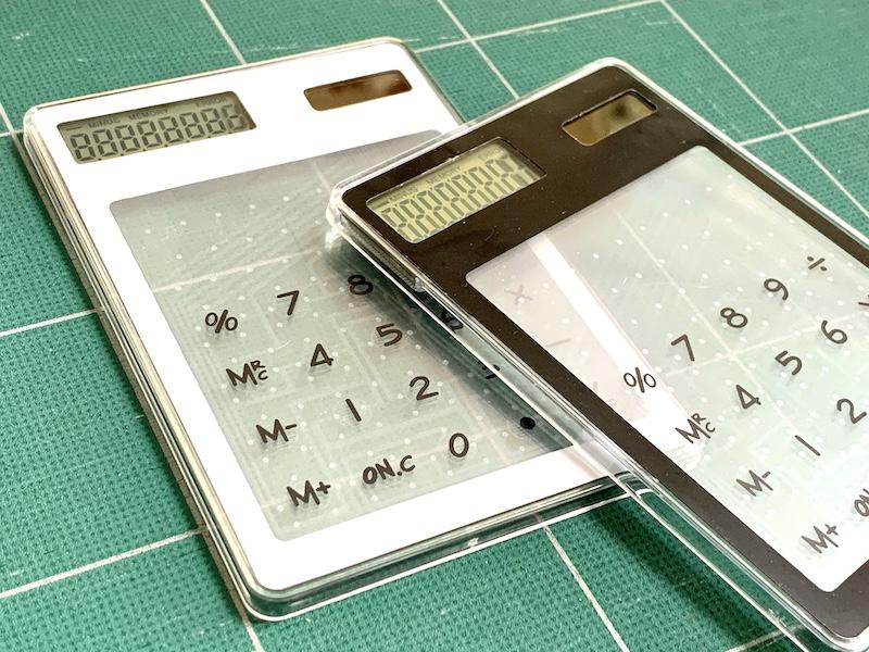 ダイソーのスケルトン電卓:ソーラー式なので電池交換要らず