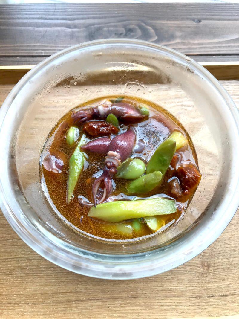 初夏のそら豆とホタルイカのぶっかけそうめんカッペリーニ風