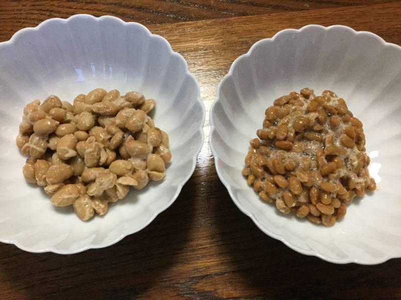 左ができた大粒、右が元種の小粒
