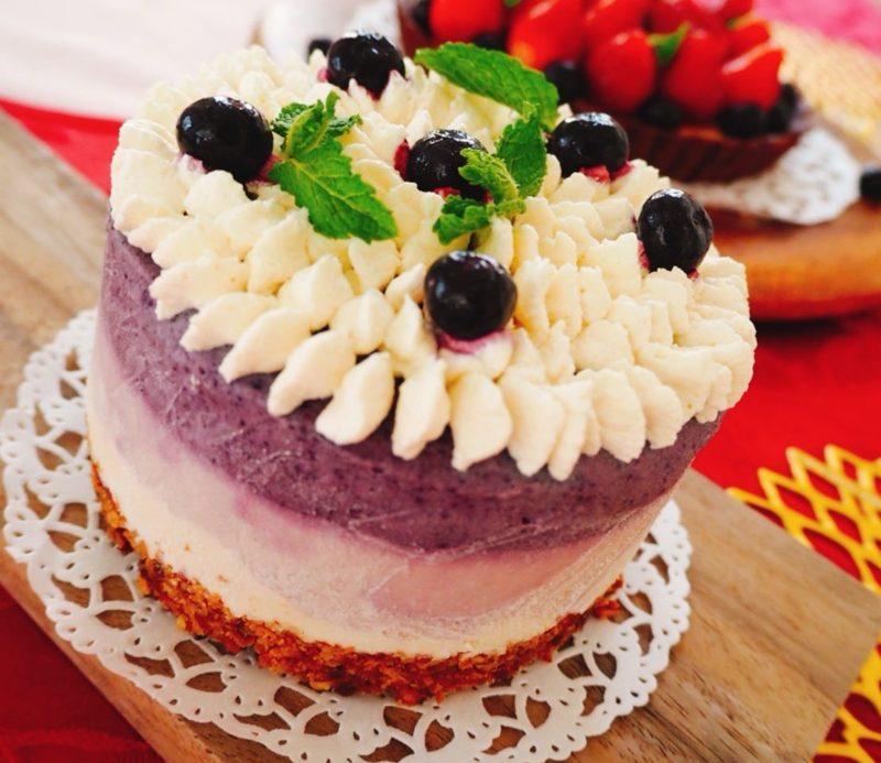 乳製品、白砂糖不使用!ヘルシーローブルーベリーチーズケーキ