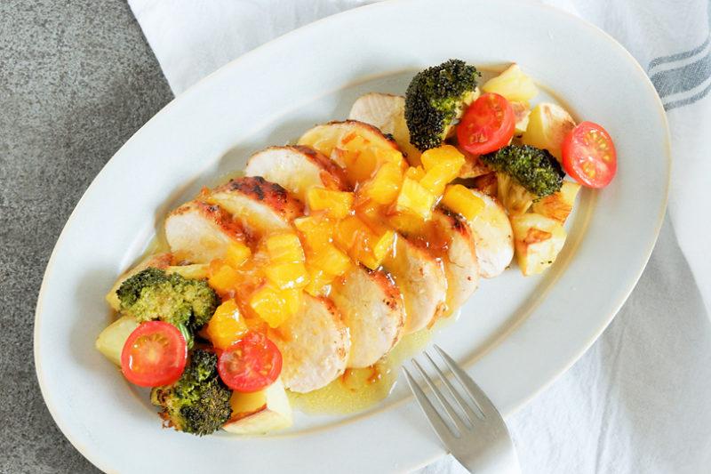 エクストラバージンオリーブオイルで作る、鶏肉のグリル・マーマレードソース