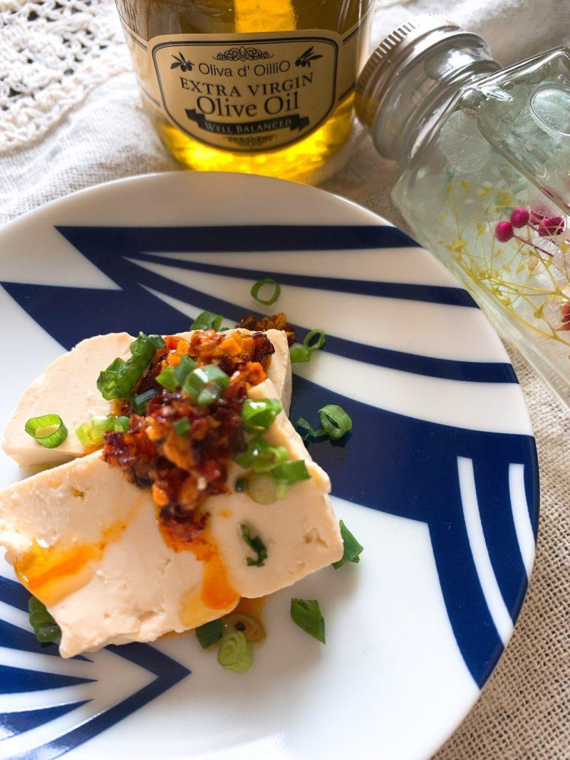 食べるラー油をかけてレア麻婆豆腐×エクストラバージンオリーブオイル