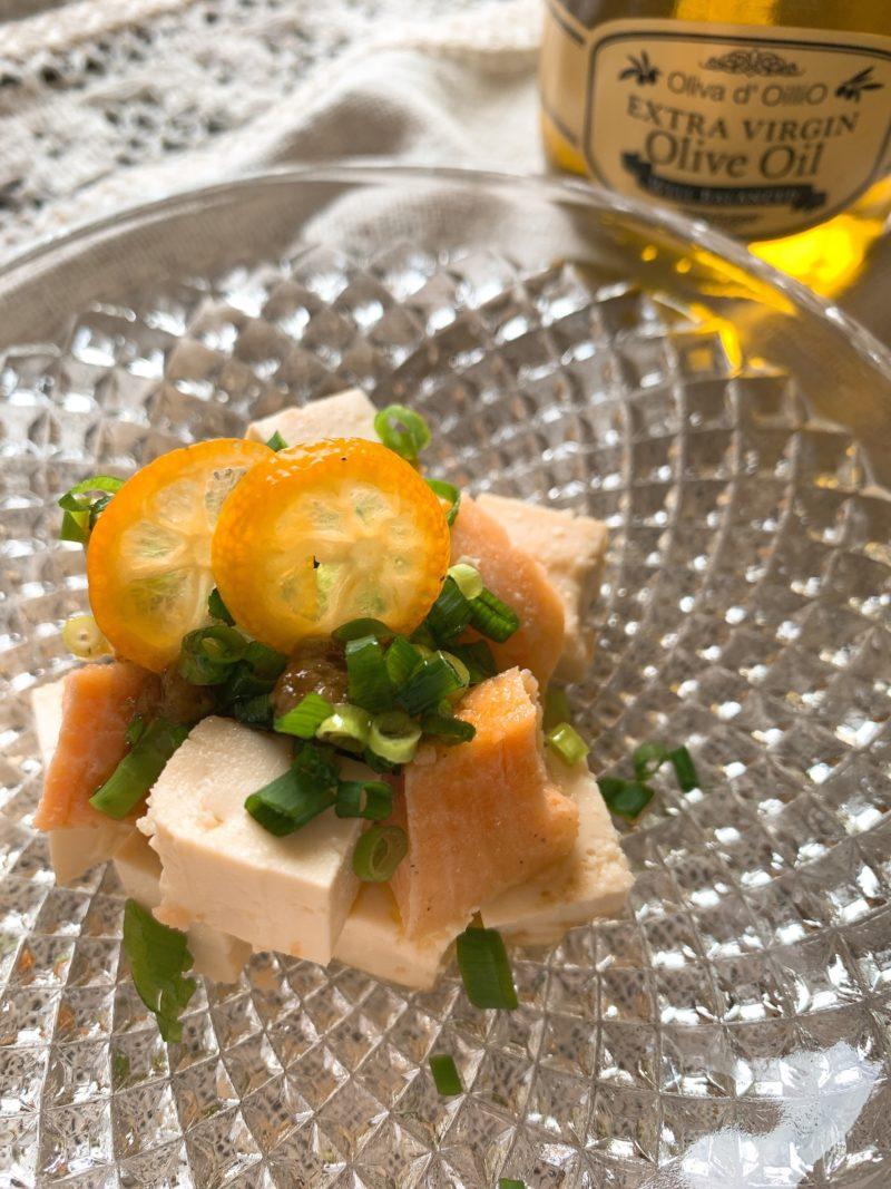 サーモンに小葱、柚子胡椒、お醤油、エキストラバージンオリーブオイル