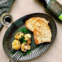 オリーブオイルで仕上げるマッシュルームのマスタードチーズフライ