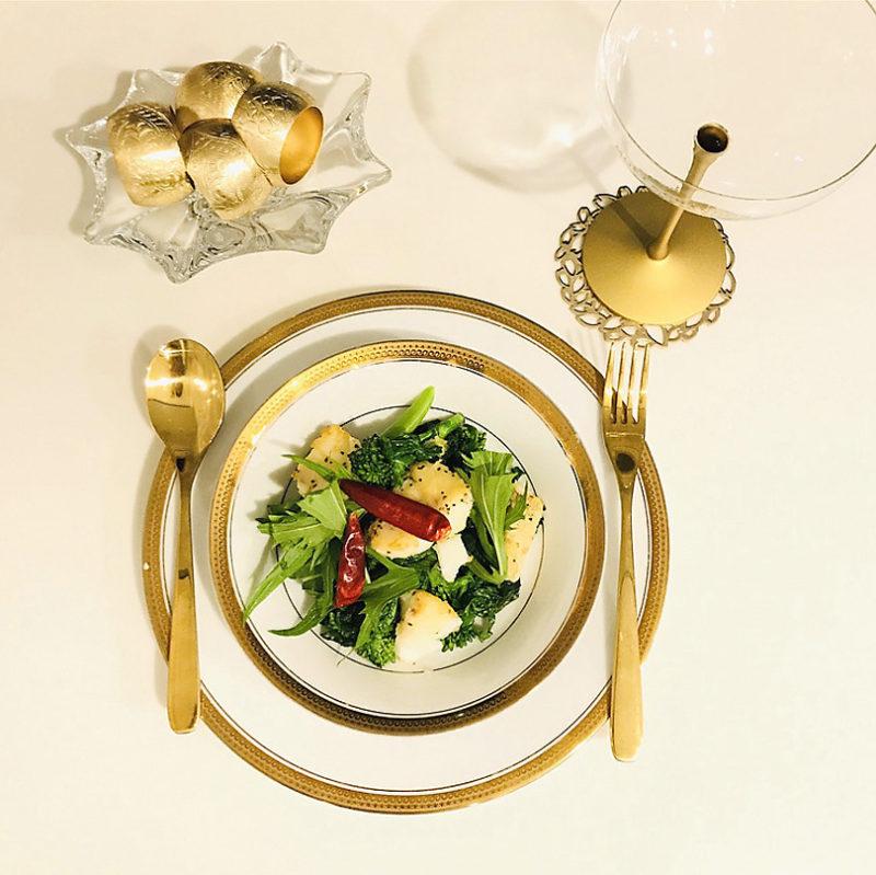 完成 オリーブオイルを使った旬のタラと菜の花のスパイシー炒め