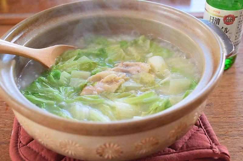 七草がゆの日に、MCTオイル&リーフレタスと鶏おかゆ