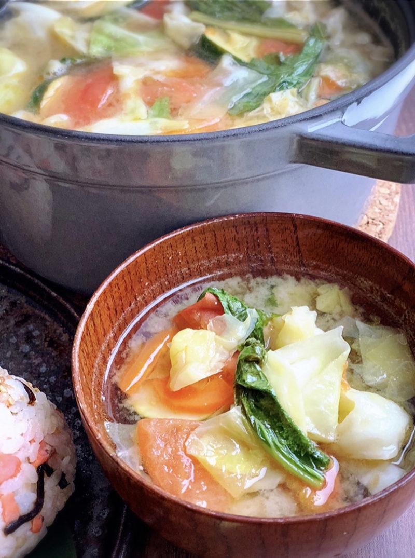 オリーブオイル野菜炒めの味噌汁