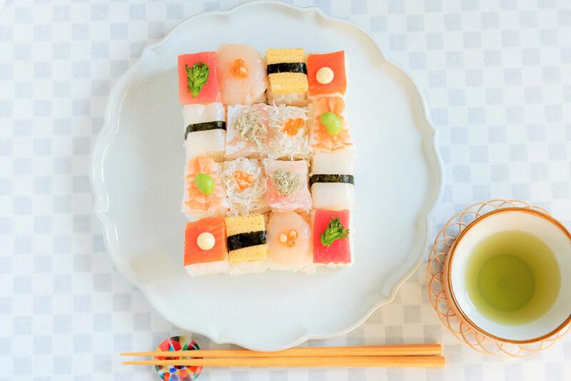 牛乳パックで作るモザイク寿司