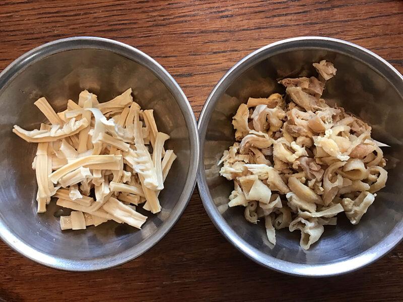 タケノコと親鶏の皮