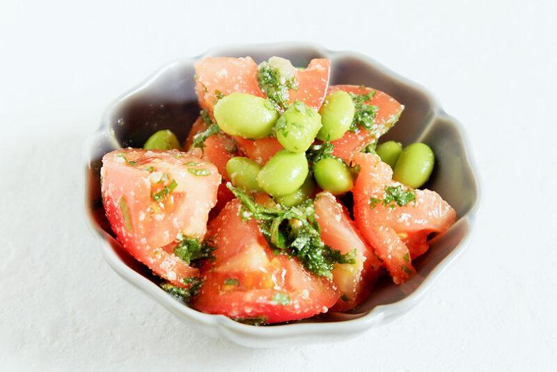 トマトと枝豆の大葉ジェノベーゼ風