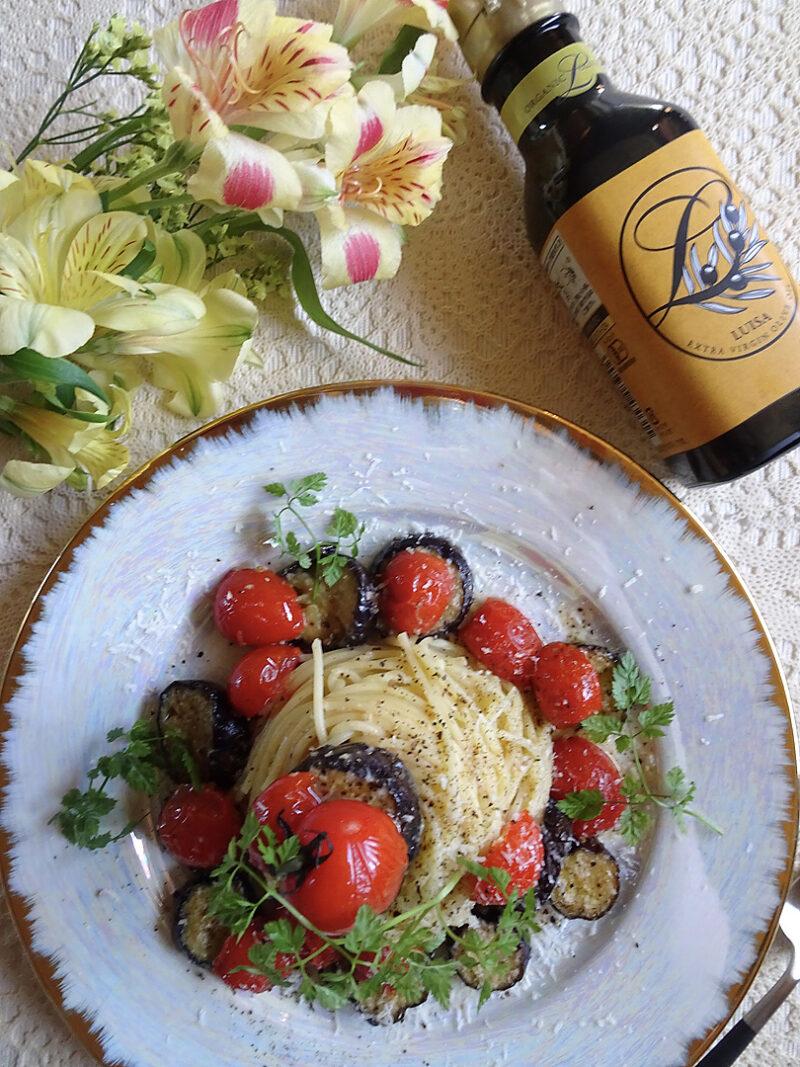 エキストラオリーブオイルをつかった秋なすとミニトマトとアンチョビのパスタ